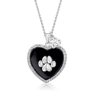 Black Onyx and .74 ct. t.w. White Topaz Heart and Dog Paw Print [Pendant] Necklace in Sterling Silver