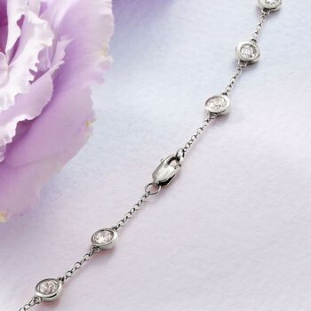 5.00 ct. t.w. Bezel-Set Diamond Station Necklace in 14kt White Gold, , default