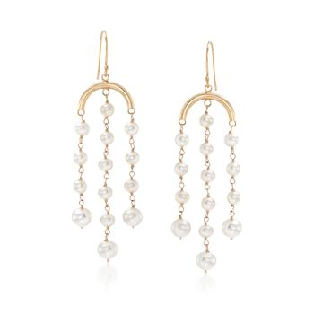 3-6mm Cultured Pearl Fringe Drop Earrings in 14kt Yellow Gold, , default
