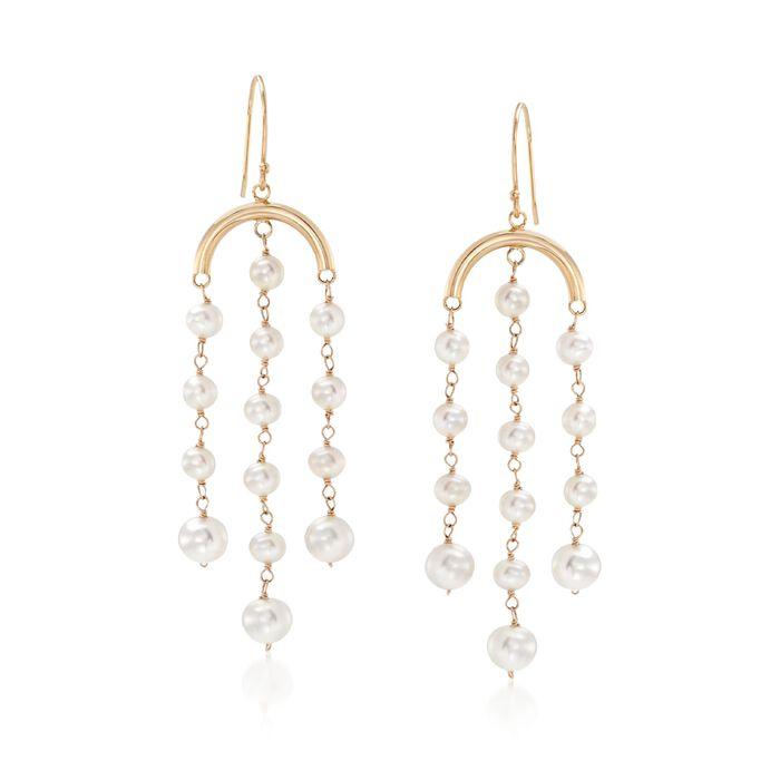 3-6mm Cultured Pearl Fringe Drop Earrings in 14kt Yellow Gold, , default