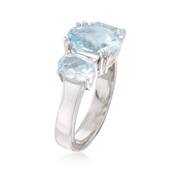 4.20 ct. t.w. Blue Topaz Three-Stone Ring in Sterling Silver, , default