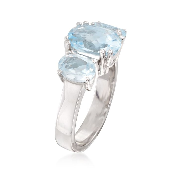 4.20 ct. t.w. Blue Topaz Three-Stone Ring in Sterling Silver