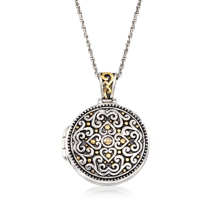 Two-Tone Sterling Silver Bali-Style Locket Necklace, , default