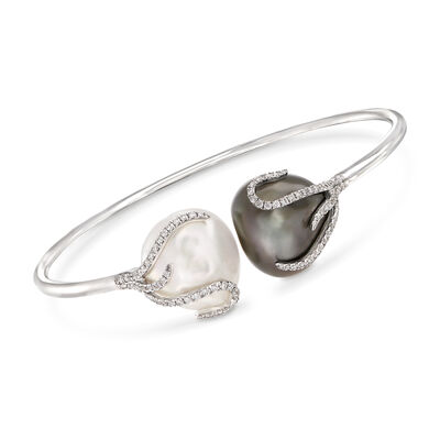 16.1mm-15.8mm Black and White Cultured South Sea Pearl and .67 ct. t.w. Diamond Cuff Bracelet in 18kt White Gold, , default