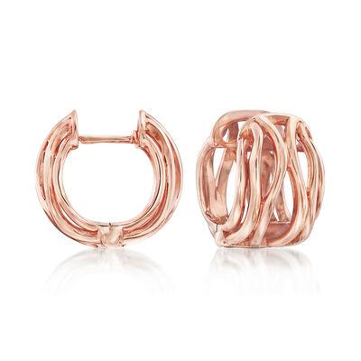 14kt Rose Gold Openwork Huggie Hoop Earrings, , default