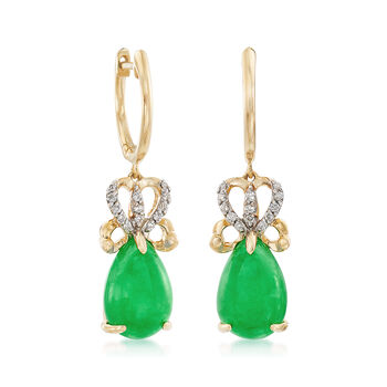 12x8mm Green Jade Drop Earrings with .13 ct. t.w. Diamonds in 14kt Yellow Gold, , default