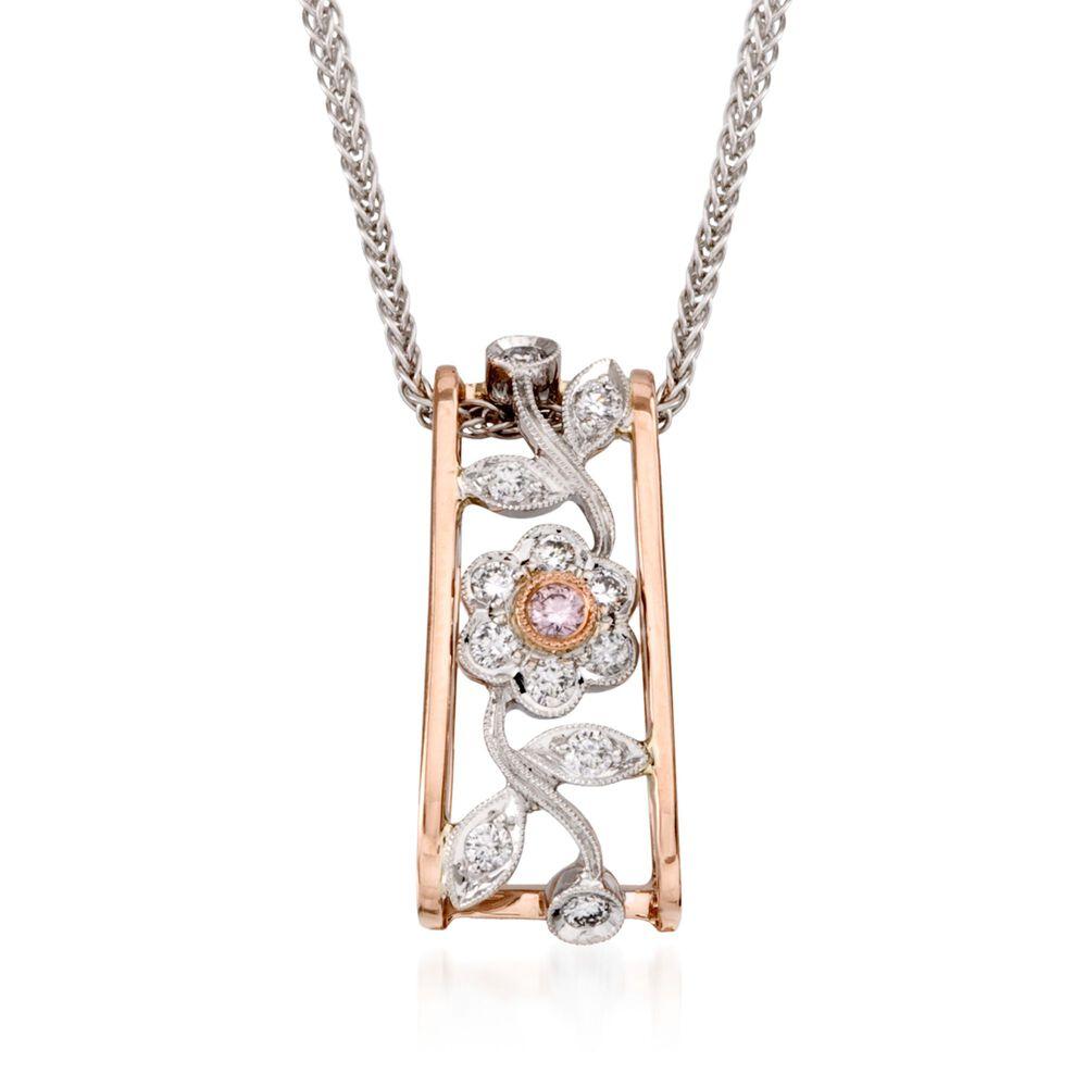 Simon g 20 ct tw diamond flower pendant necklace in 18kt two tw diamond flower pendant necklace in 18kt two aloadofball Gallery