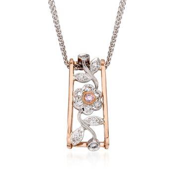 "Simon G. .20 ct. t.w. Diamond Flower Pendant Necklace in 18kt Two-Tone Gold. 17"", , default"