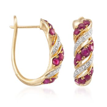1.00 ct. t.w. Ruby and .10 ct. t.w. Diamond Twist Earrings in 18kt Gold Over Sterling, , default