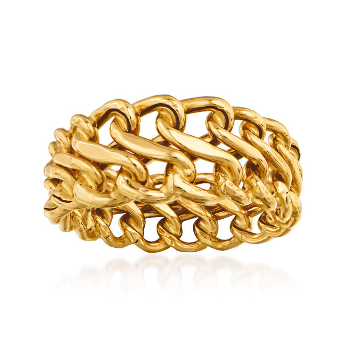 Italian 14kt Yellow Gold Graduated Infinity Ring. Size 7, , default