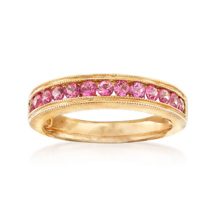 C. 1990 Vintage .80 ct. t.w. Pink Sapphire Ring in 14kt Yellow Gold. Size 6, , default