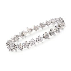 "C. 1980 Vintage 6.25 ct. t.w. Diamond Floral Bracelet in Platinum. 7"", , default"