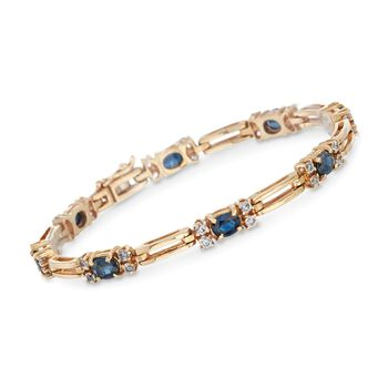 """C. 1980 Vintage 2.80 ct. t.w. Sapphire and 1.20 ct. t.w. Diamond Bracelet in 14kt Yellow Gold. 6.5"""", , default"""