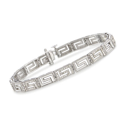 1.00 ct. t.w. Diamond Greek Key Bracelet in Sterling Silver, , default