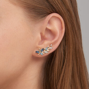 2.10 ct. t.w. Tonal Blue Topaz Floral Vine Ear Crawlers in 14kt Yellow Gold, , default