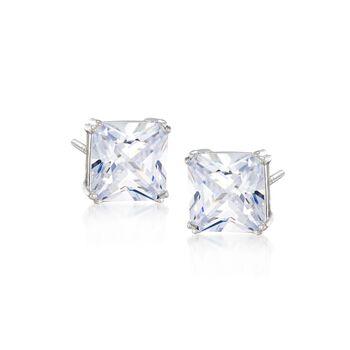 10.00 ct. t.w. Princess-Cut CZ Stud Earrings in Sterling Silver, , default