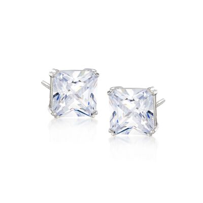 10.00 ct. t.w. Princess-Cut CZ Stud Earrings in Sterling Silver, , default