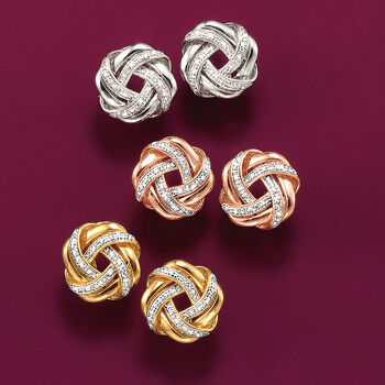 .20 ct. t.w. Diamond Love Knot Earrings in 18kt Rose Gold Over Sterling