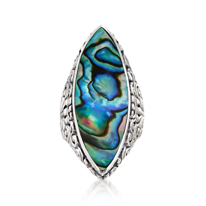 Abalone Shell Bali-Style Ring in Sterling Silver. Size 5, , default