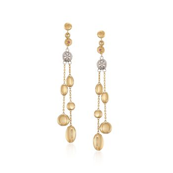 Roberto Coin Double Pebble Drop Dangle Earrings With Diamond Accents in 18kt Yellow Gold, , default