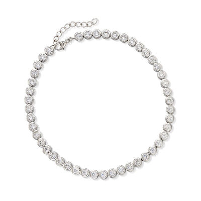 4.70 ct. t.w. CZ Anklet in Sterling Silver
