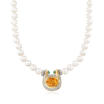 C. 1980 Vintage Cultured Pearl and 10.60 ct. t.w. Multi-Gem Horseshoe Pendant Necklace with 2.60 ct. t.w. Diamonds in 18kt Yellow Gold