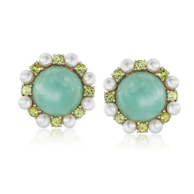 16mm Jade and 4-4.5mm Cultured Pearl Earrings with Peridot in Sterling Silver, , default