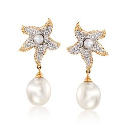 2.5-8mm Cultured Pearl Starfish Drop Earrings With Diamond Accents in 14kt Two-Tone Gold, , default