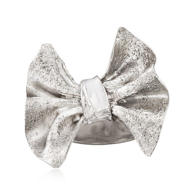 Italian Sterling Silver Bow Ring, , default