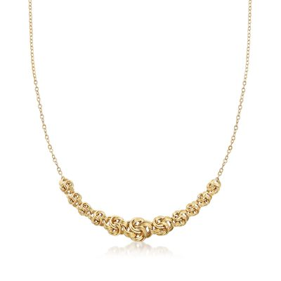 14kt Yellow Gold Rosette-Link Centerpiece Necklace, , default