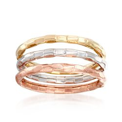 14kt Tri-Colored Gold Jewelry Set: Three Stackable Rings, , default