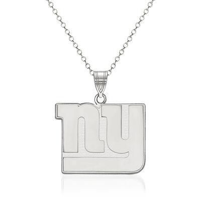"""Sterling Silver NFL New York Giants Large Pendant Necklace. 18"""""""