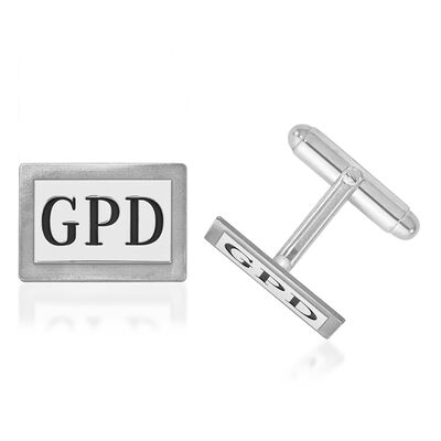 14kt White Gold Rectangular Monogram Cuff Links with Black Enamel, , default