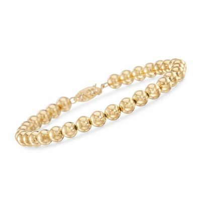 6mm 14kt Yellow Gold Bead Bracelet, , default