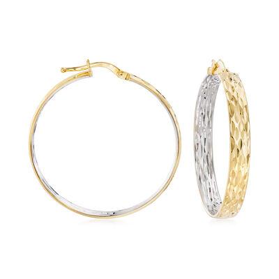 14kt Two-Tone Gold Inside-Outside Hoop Earrings, , default