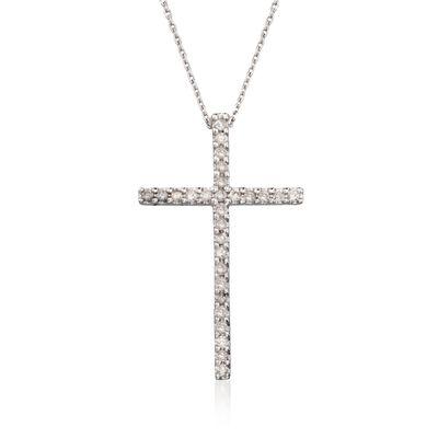 .25 ct. t.w. Diamond Cross Pendant Necklace in 14kt White Gold, , default