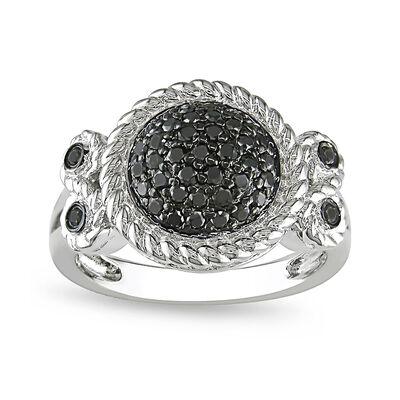 .47 ct. t.w. Black Pave Diamond Halo Ring in Sterling Silver, , default