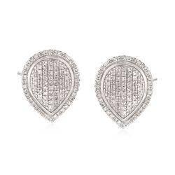 .25 ct. t.w. Pave Diamond Teardrop Earrings in Sterling Silver, , default