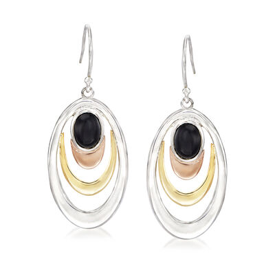 Black Onyx Oval Drop Earrings in 14kt Two-Tone Gold and Sterling Silver, , default