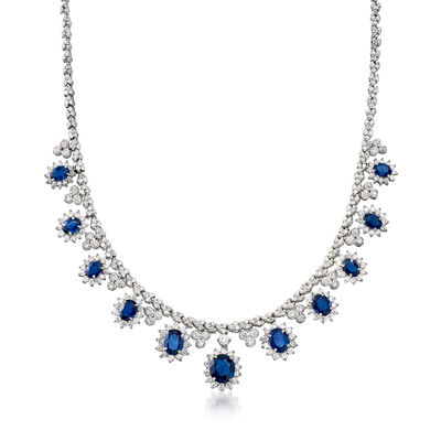 17.10 ct. t.w. Sapphire and 8.85 ct. t.w. Diamond Collar Necklace in 14kt White Gold, , default