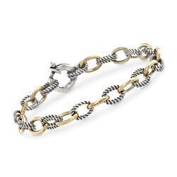 "Phillip Gavriel ""Italian Cable"" Sterling Silver and 18kt Gold Cable Link Bracelet. 7.25"", , default"