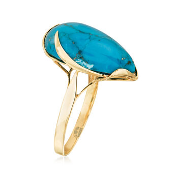 Turquoise Ring in 14kt Yellow Gold. Size 8