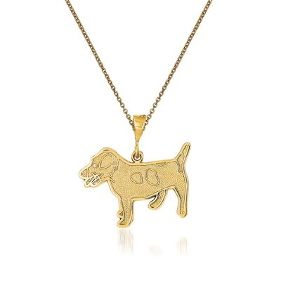 14kt Yellow Gold Jack Russell Terrier Dog Pendant Necklace