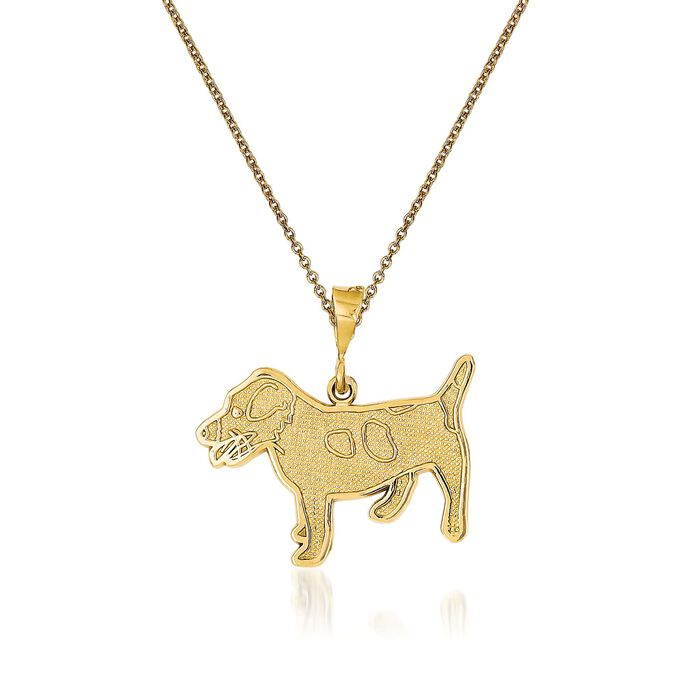 """14kt Yellow Gold Jack Russell Terrier Dog Pendant Necklace. 18"""", , default"""