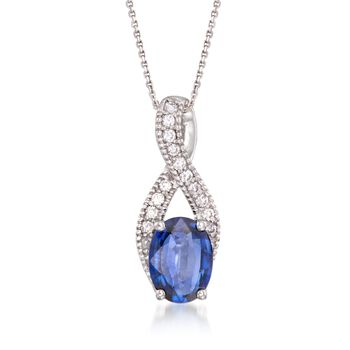 "1.60 Carat Sapphire and .15 ct. t.w. Diamond Pendant Necklace in 14kt White Gold. 16"", , default"
