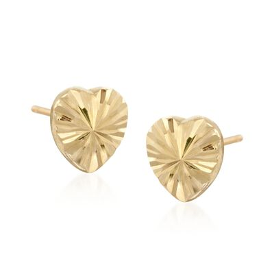 14kt Yellow Gold Diamond-Cut Heart Stud Earrings, , default