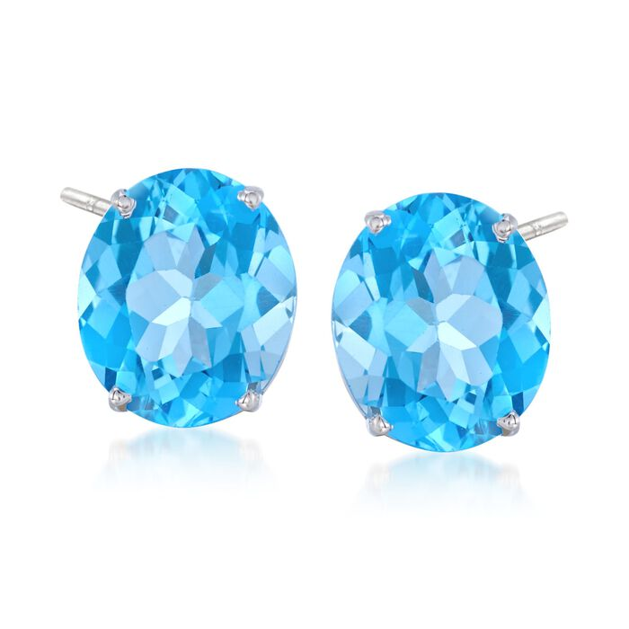 12.00 ct. t.w. Blue Topaz Stud Earrings in 14kt White Gold , , default