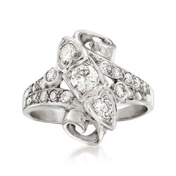 C. 1960 Vintage .75 ct. t.w. Diamond Ring in 14kt White Gold, , default