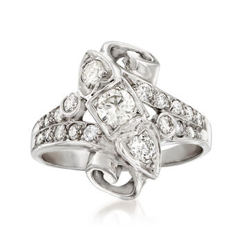C. 1960 Vintage .75 ct. t.w. Diamond Ring in 14kt White Gold. Size 6.75, , default