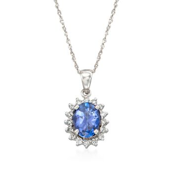 """1.31 Carat Tanzanite and .24 ct. t.w. Diamond Pendant Necklace in 14kt White Gold. 18"""", , default"""